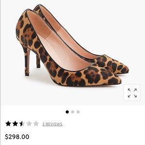 J Crew Elsie Leopard Calf Hair Pumps -85mm heels